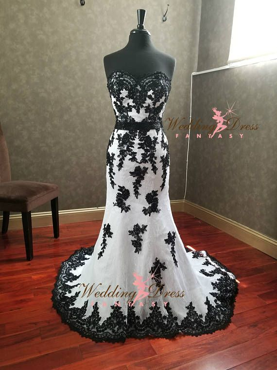 Stunning Black And White Gothic Wedding Dress With Sweetheart