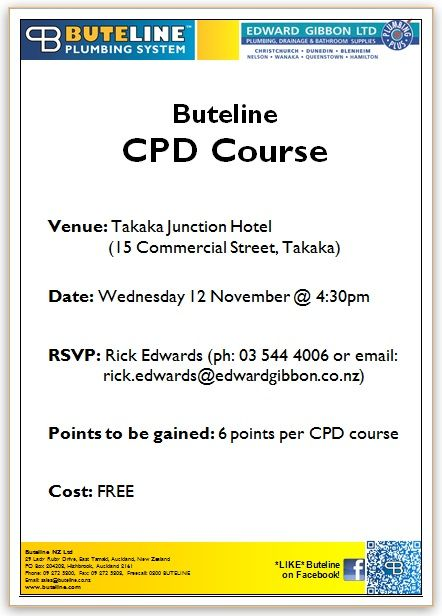 Buteline CPD Course @ Takaka Junction Hotel on Wed 12 Nov 2014