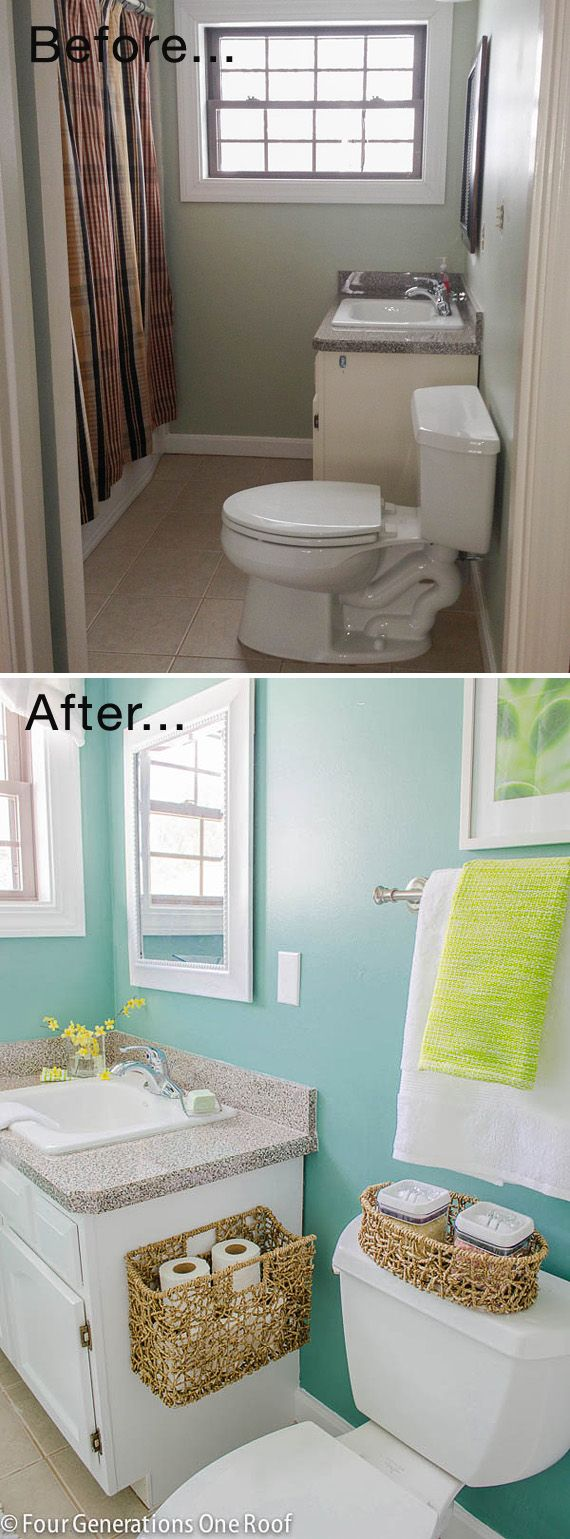 Tiny Bath Makeovers • Lots of Tips, Tutorials and Before and Afters! Including, from 'four gernerations, one roof', this beautiful master bath makeover.: