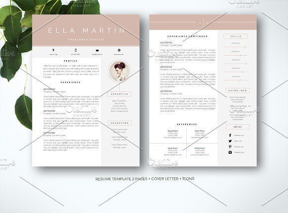 Resume Template for MS Word by Fortunelle Resumes on @creativemarket Professional printable resume / cv cover letter template examples creative design and great covers, perfect in modern and stylish corporate business design. Modern, simple, clean, minimal and feminine style. Ready to print us letter and a4 layout inspiration to grab some ideas. In psd, indd, docs, ms word file format. #resume #cv #template #professional #word #modern #creative #design