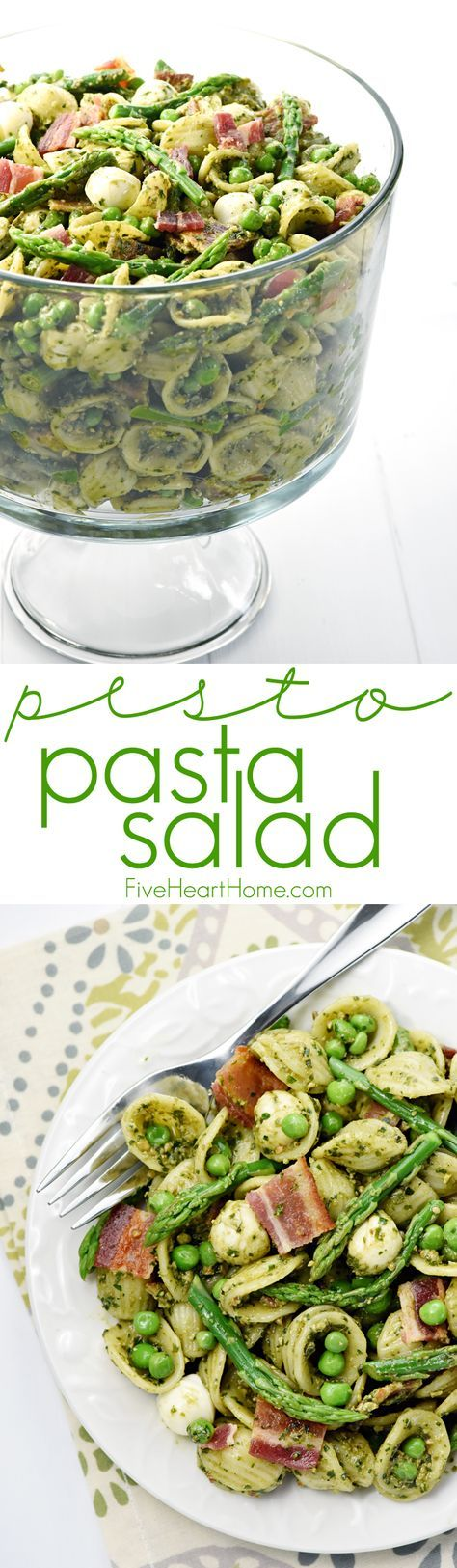 Pesto Pasta Salad ~ studded with bright green asparagus, sweet peas, decadent bacon, and fresh pearls of mozzarella, this pasta salad is a flavorful side dish or light dinner, perfect for spring and summer celebrations!   FiveHeartHome.com