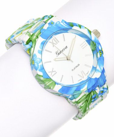 Look what I found on #zulily! Blue & Green Flower Bracelet Watch #zulilyfinds