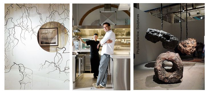 chef Guido Haverkok in the kitchen, sculptures by Philida Barlow, photo Francesca Pagliai ©
