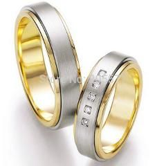 [ $20 OFF ] Bicolor Gold Plating Western Custom Health Titanium Engagement And Wedding Rings Sets