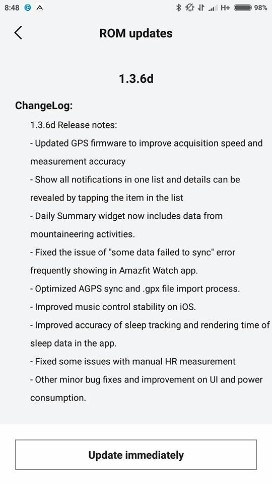 New Firmware rolling out for the Amazfit Pace Source: (6) Global Huami Amazfit Pace Smartwatch Group