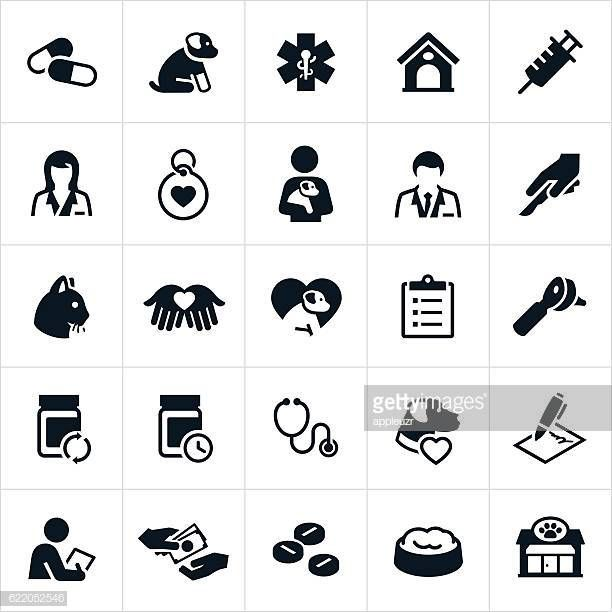 A Set Of Icons Representing The Pet Insurance Or Veterinary
