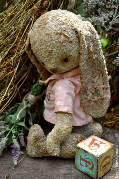 "Teddy bear handmade.  Fair Masters - handmade stuffed bunny ""Pet Oska. Time dried flowers.""  Handmade."