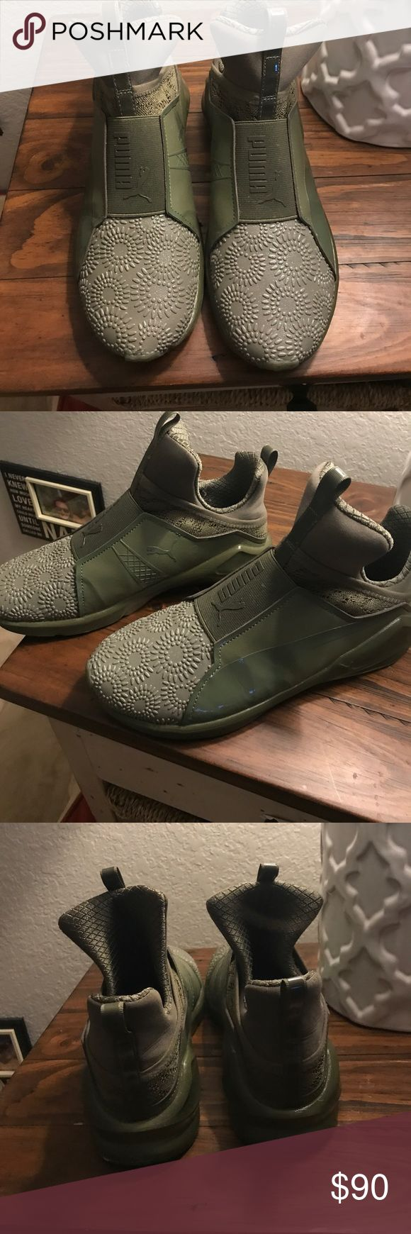 Selling this Army Green Puma tennis shoes on Poshmark! My username is: meghanplys. #shopmycloset #poshmark #fashion #shopping #style #forsale #Puma #Shoes