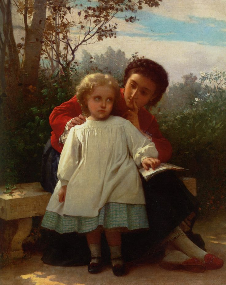 Lon Bazile Perrault 1832 1908 Reading Lesson Oil