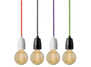Nud Porcelain Socket & Textile Cable Lights, Seen on Home by Novogratz, $51: Cord Lights I, Kids Bathroom, For Kids, Kid Bathrooms, Bungee Cord, Bedroom, Bungee Pendant