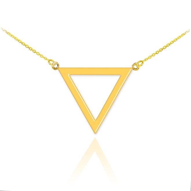 14k Polished Rose Gold Triangle Necklace Gold Triangle Necklace Gold Geometric Pendant Triangle Necklace