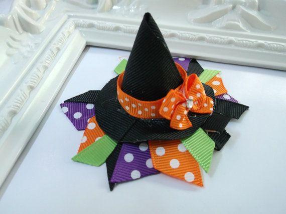 Witch Hat Ribbon Sculpture Hair Clip. Halloween Hair Clip