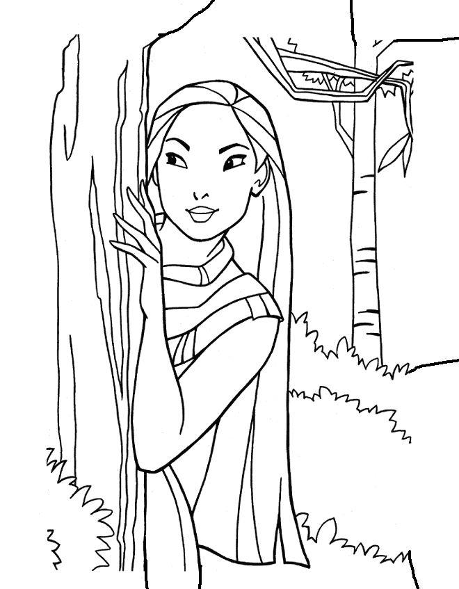 Pocahontas Fargelegging for barn. Tegninger for utskrift og fargelegging nº 3