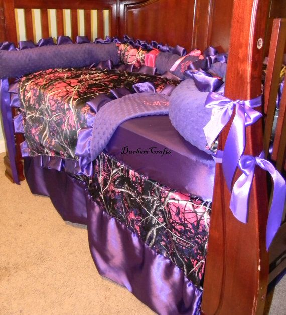 6 pc custom Muddy Girl Camo with Pink and Purple Ruffled Baby Bedding with by DurhamCrafts, $275.00