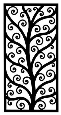 "Contemporary Tree Rectangle Wrought Iron Wall Art - 18"" x 35"" 