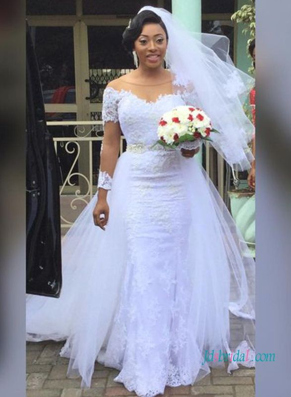 Curve white lace mermaid wedding dress with detachabel
