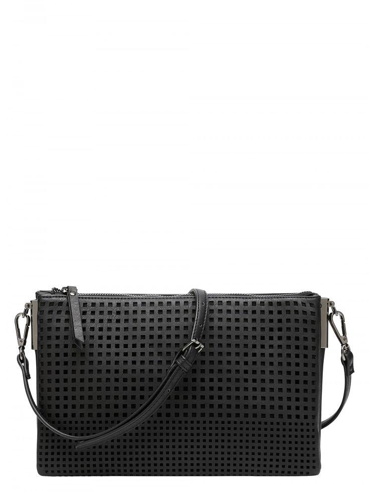 Black Perforated Cross Body Bag
