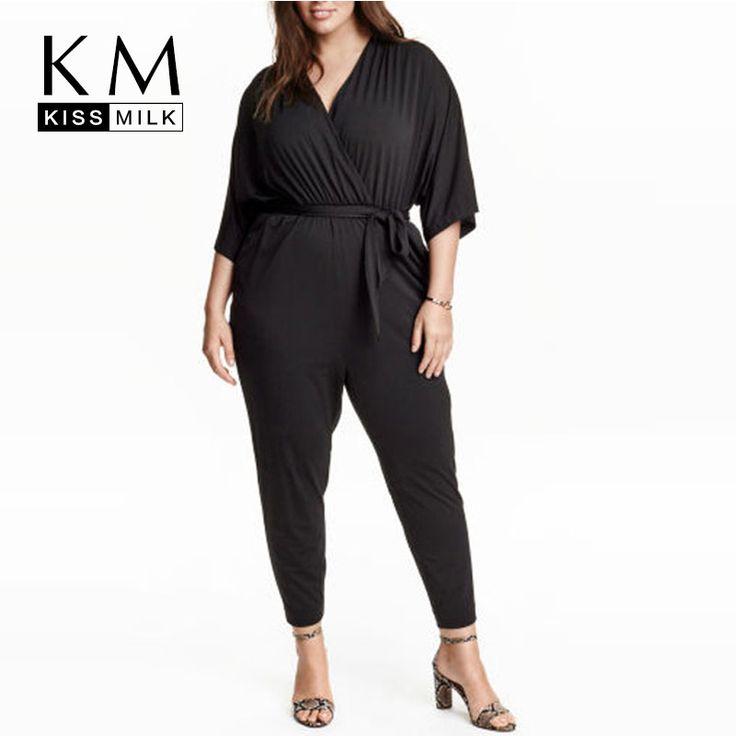 Women Plus Size 3XL 4XL 5XL 6XL Big Large Size Deep V Neck Tie Waist Romper Vintage Elegant Slim Casual Jumpsuit