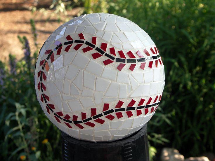 Mosaic bowling ball for the garden