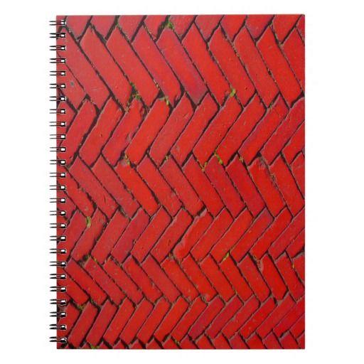 Bright Red Brick chevron pattern Notebook  #school #office