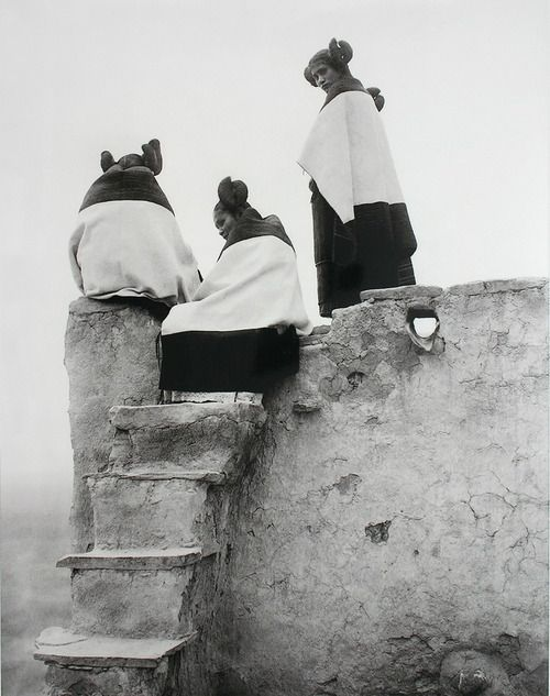 Hopi Indian women, watching the dancers.  USA, ca 1907.  Photographer: Edward Curtis.