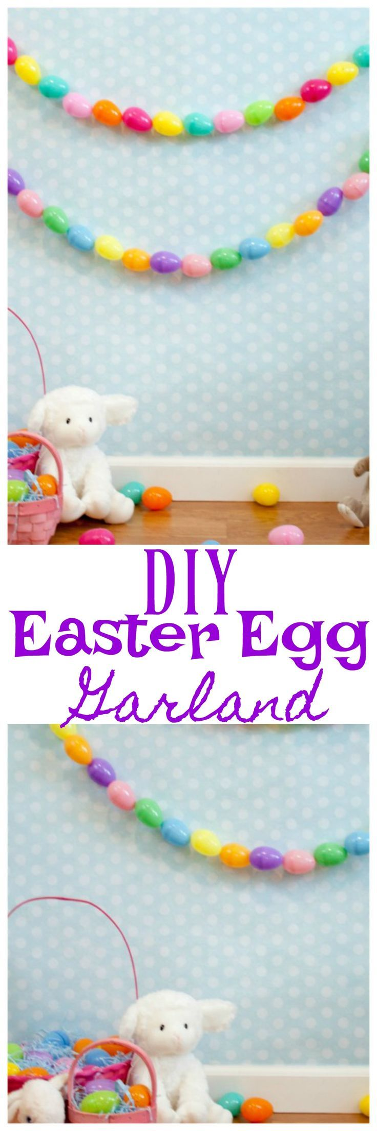 DIY Easter egg garland is super easy to make and the perfect Easter Decoration! Using plastic Easter Eggs you can easily make this DIY Easter egg garland. #Easter #eastercrafts  #easterbunny  #easterdecorations #diy
