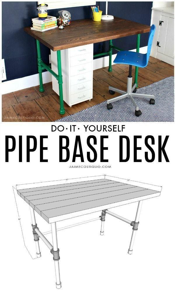diy painted pipe base wood desk woodworking wood desk diy rh pinterest com