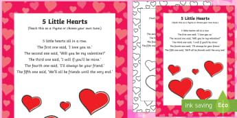 Five Little Hearts Finger Actions Rhyme - Valentine's day, love, hearts, friend