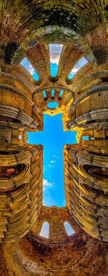 The Cross - San Galano Abbey, Tuscany. The ceiling of the building in the form of a cross.