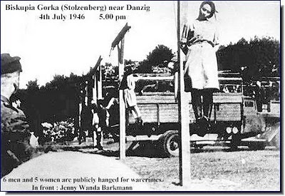 the hanging of Jenny-Wanda Barkmann after her conviction of war crimes in 1946.