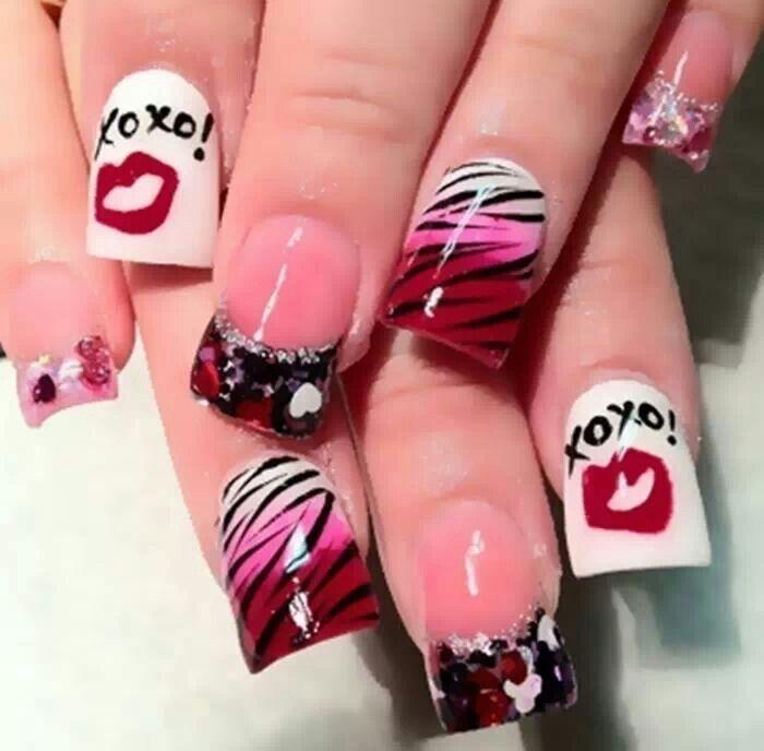 13 best Valentines Day Nail Designs images on Pinterest   Valentine ...