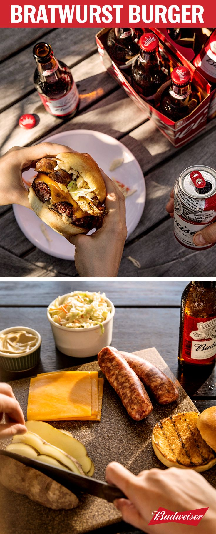 The Bratwurst Burger is an epic combination of two cookout favorites. Coleslaw, sausage, and potatoes come together with a cheddar burger on a brioche bun. Proof that unexpected toppings can seriously up your grilling game. Pairs perfectly with Budweiser's crisp finish for the ultimate backyard meal.