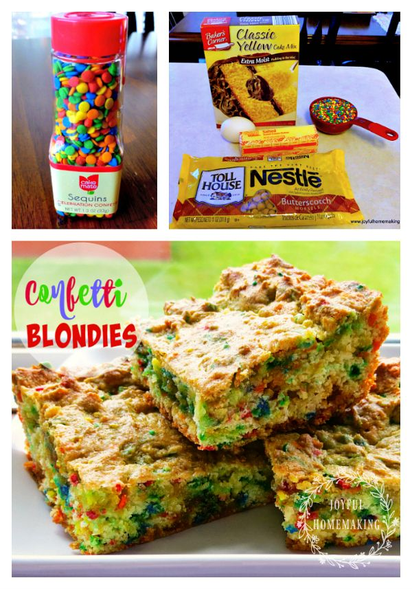 Cake Mix Confetti Blondies - easy, fun and delicious!