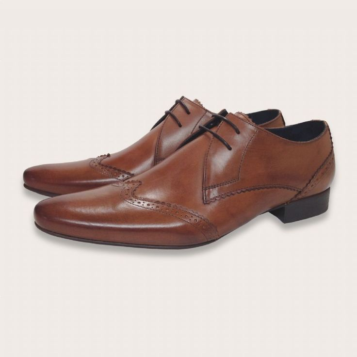 Tan Leather Pointy Brogue Lace Up Shoes - Berkeley | Coogan London  www.cooganlondon.