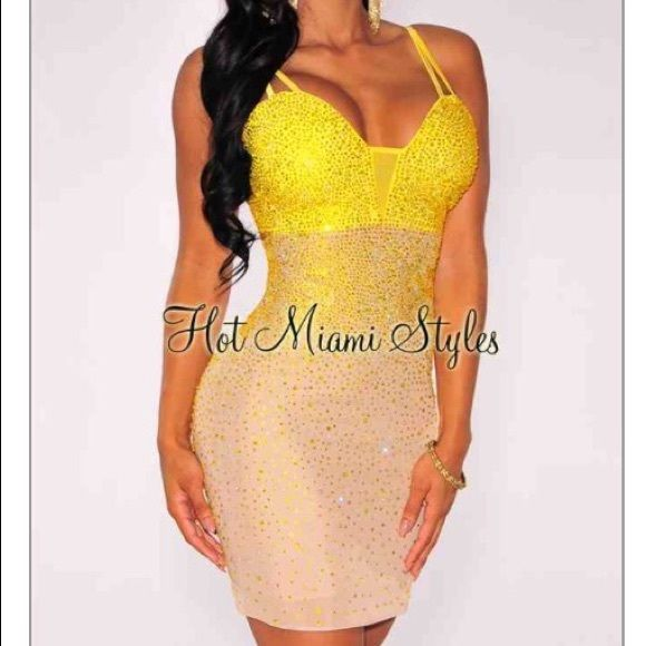 Tan and yellow sparkly dress from hot Miami styles Yellow and tan even prettier in person. Great for Vegas super sexy Hot miami styles Dresses Mini