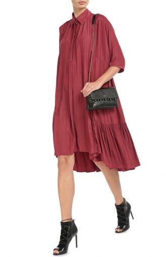 Женское розовое платье-рубашка асимметричного кроя с укороченным рукавом Lanvin, сезон FW 16/17, арт. RW-DR2006-2638-A16 купить в ЦУМ | Фото №2