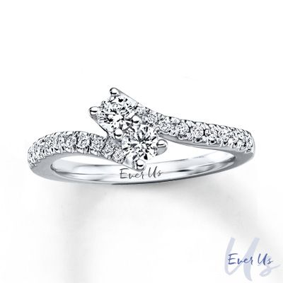 Ever+Us™+1/2+CT.+T.W.+Two-Stone+Diamond+Bypass+Ring+in+14K+White+Gold