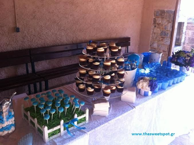 #candybar #baptism #blue #cupcakes #pops