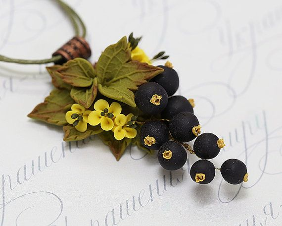 Necklace with currant berries. Black currant necklace. Yellow tiny flowers, black berries, olive green leaves. Polymer clay jewelry