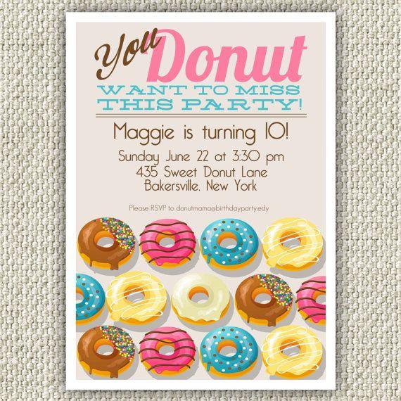 Donut Birthday Party Invitation Doughnut by TwinkleToePrintables, $12.00