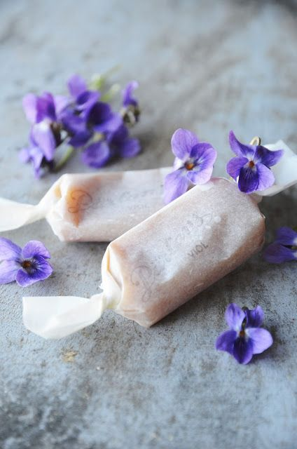 VIOLET CARAMELS - Some of the handmade flower, herb & fruit themed foods you might find on Valentina's little market stand... Beautiful & delicious, yet too lofty, costly & labour intensive for an outdoor market.