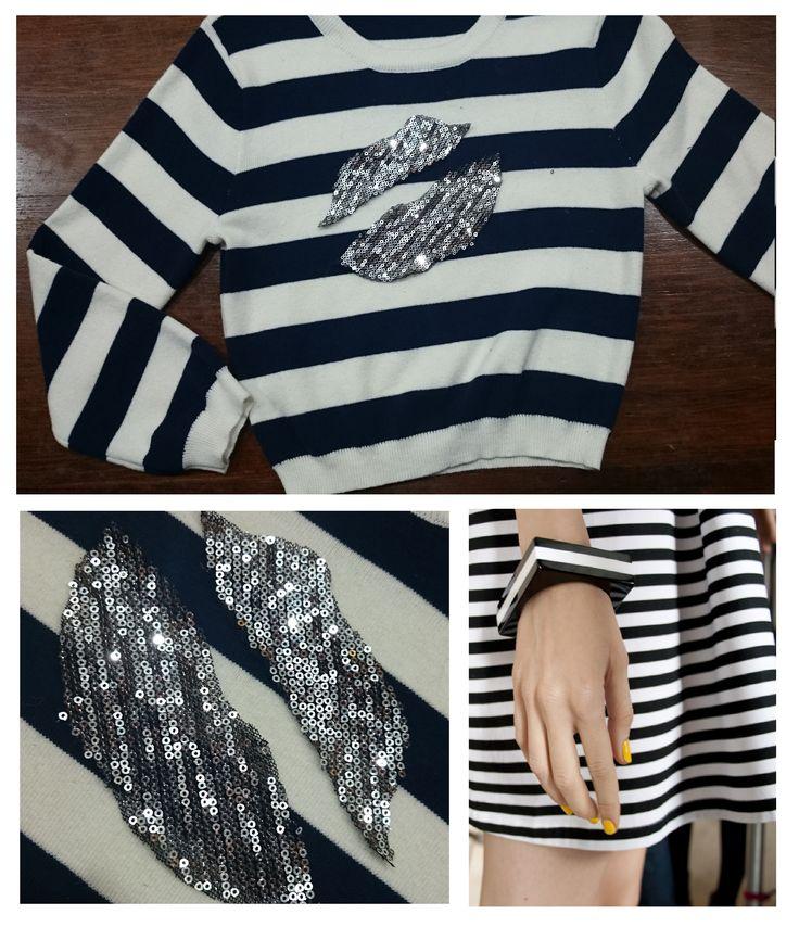 Sweater hilo y lycra mangas 3/4.Azul marino y blanco. Piezas Unicas https://www.facebook.com/commerce/products/1178178682223602/