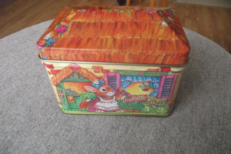Giftco Inc Easter Bunny Rabbit Tin with Cover Bunny Hutch Carrot Juice Flowers