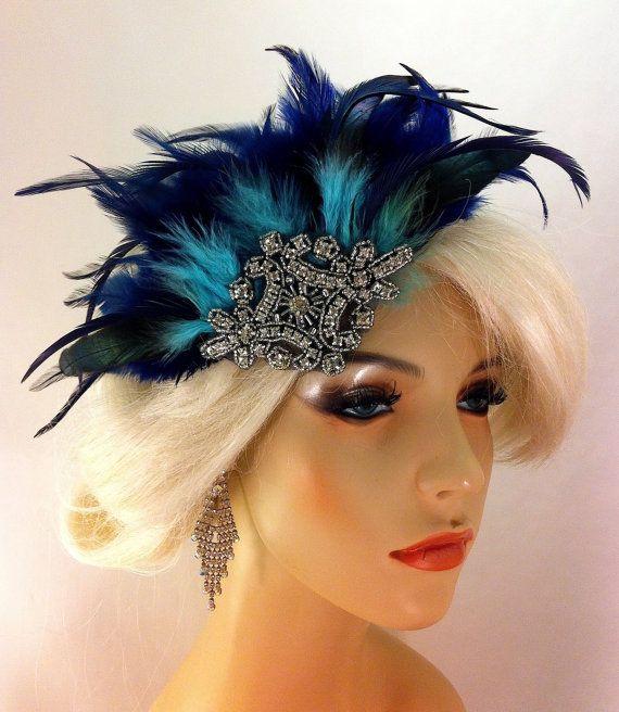 Great Gatsby, Downton Abbey, 1920s Flapper Headpiece, Feather Fascinator, Art Deco, Gatsby Headpiece, 1920s Headpiece, Gatsby, Navy