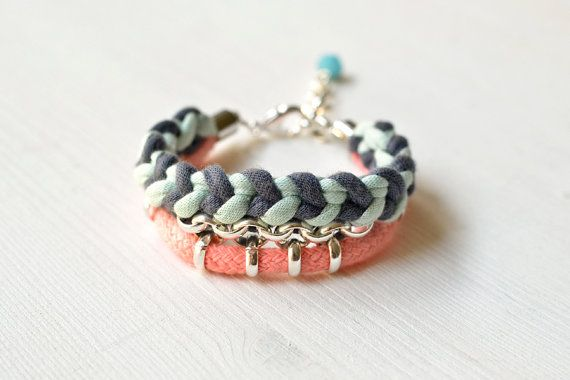 Woven Statement Bracelet Pink Rope Grey and Mint Jersey