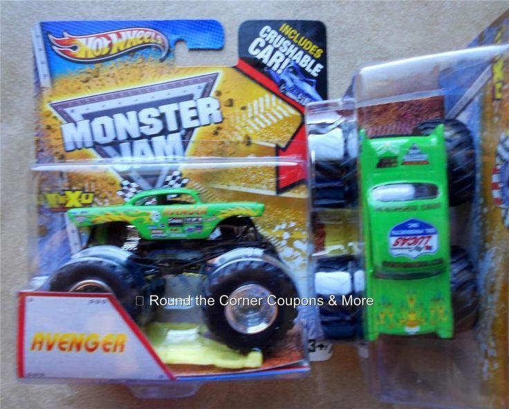Green Monster Truck Toy : Avenger neon green monster jam truck hot wheels team