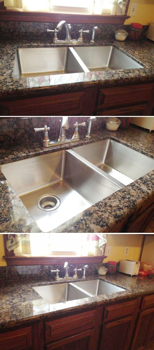 Stainless Steel Sink Countertop : bowl stainless steel sink looks fantastic with this granite countertop ...