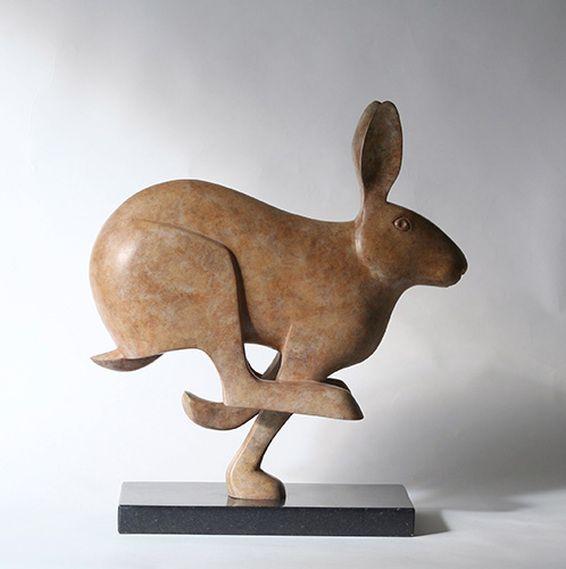Peter Killeen Bronze Sculpture of a Running Hare