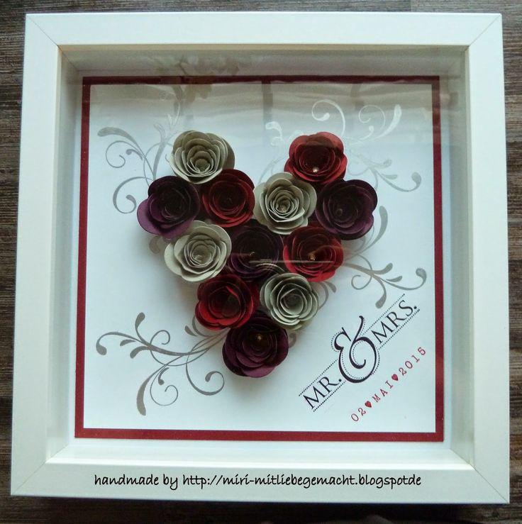 RIBBA-Rahmen zur Hochzeit mit der Originals Spiralblume von Stampin Up, Stempelset Everything Eleanor und Mr & Mrs. Stempel