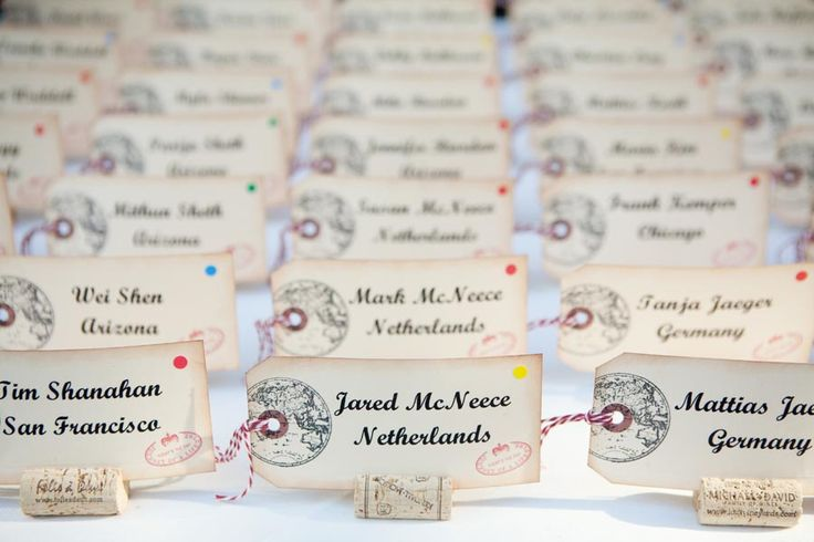 I love naming the tables with favorite places of the couple!